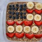 protein baked oatmeal decorated as an American flag